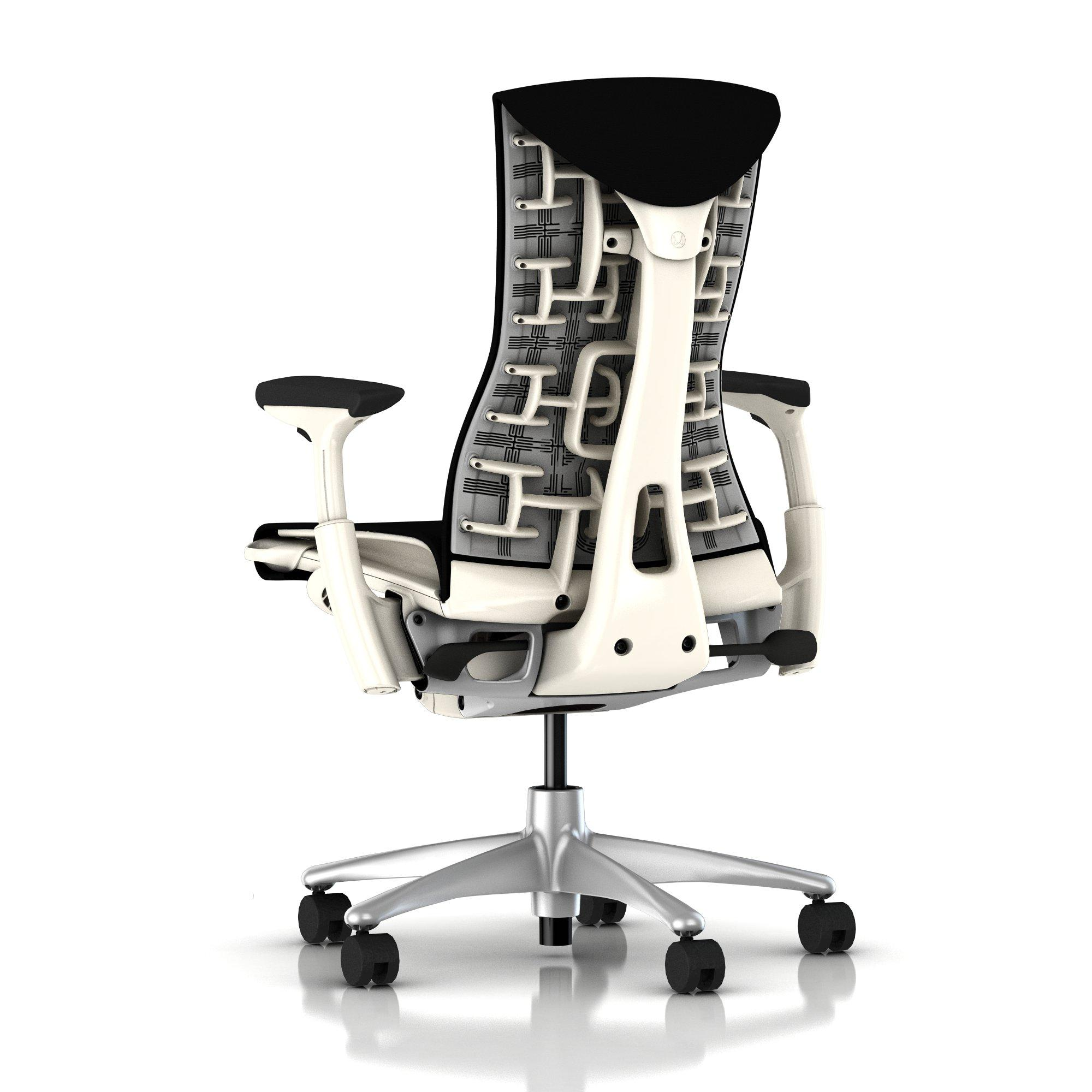 Herman Miller Embody Chair Black Rhythm With White Frame And Titanium Base E