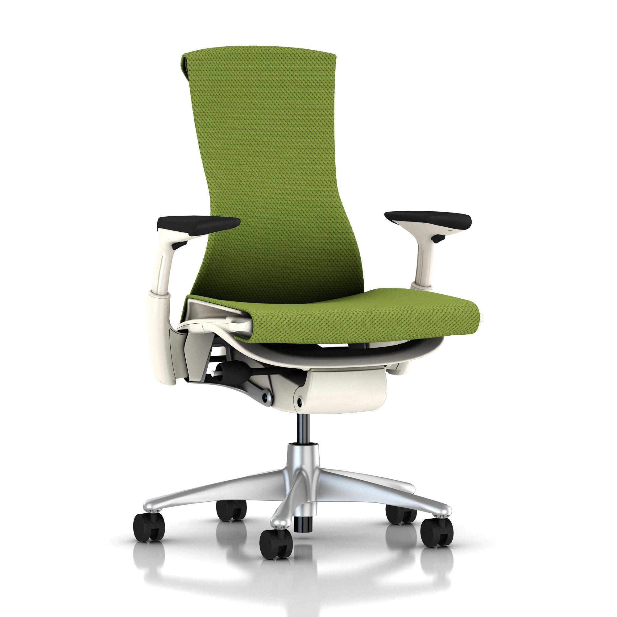 Green chair for office - Embody Chair Green Apple Balance With White Frame And Titanium Base By Herman Miller