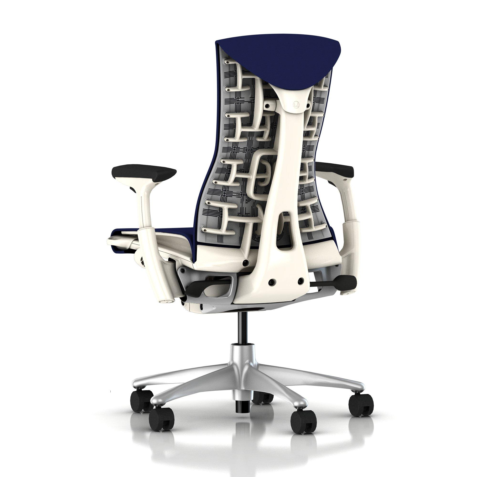 Herman Miller Embody Chair Twilight Blue Rhythm with White Frame