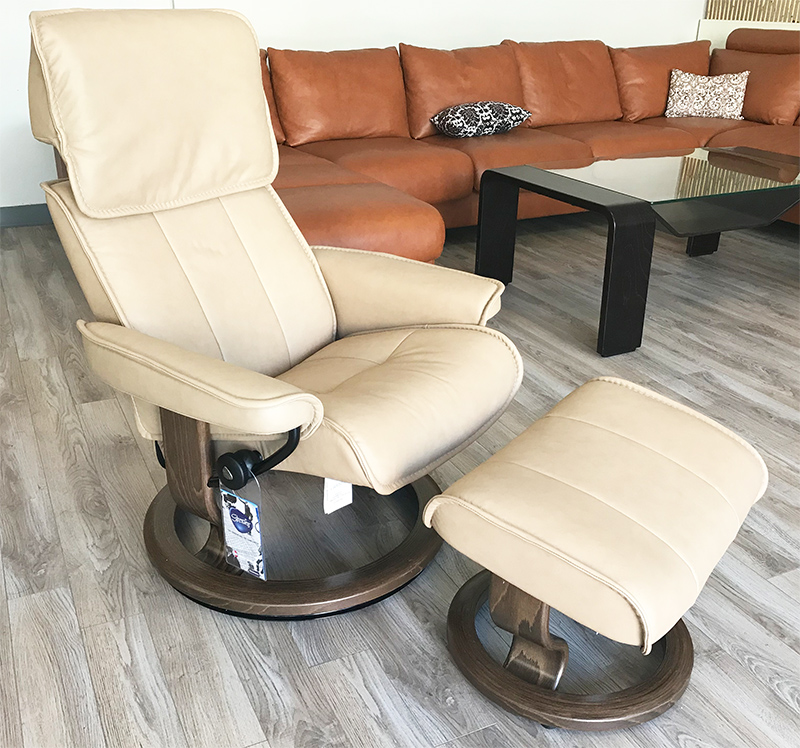 Stressless Admiral Classic Base Paloma Sand Leather Recliner Chair and Ottoman by Ekornes