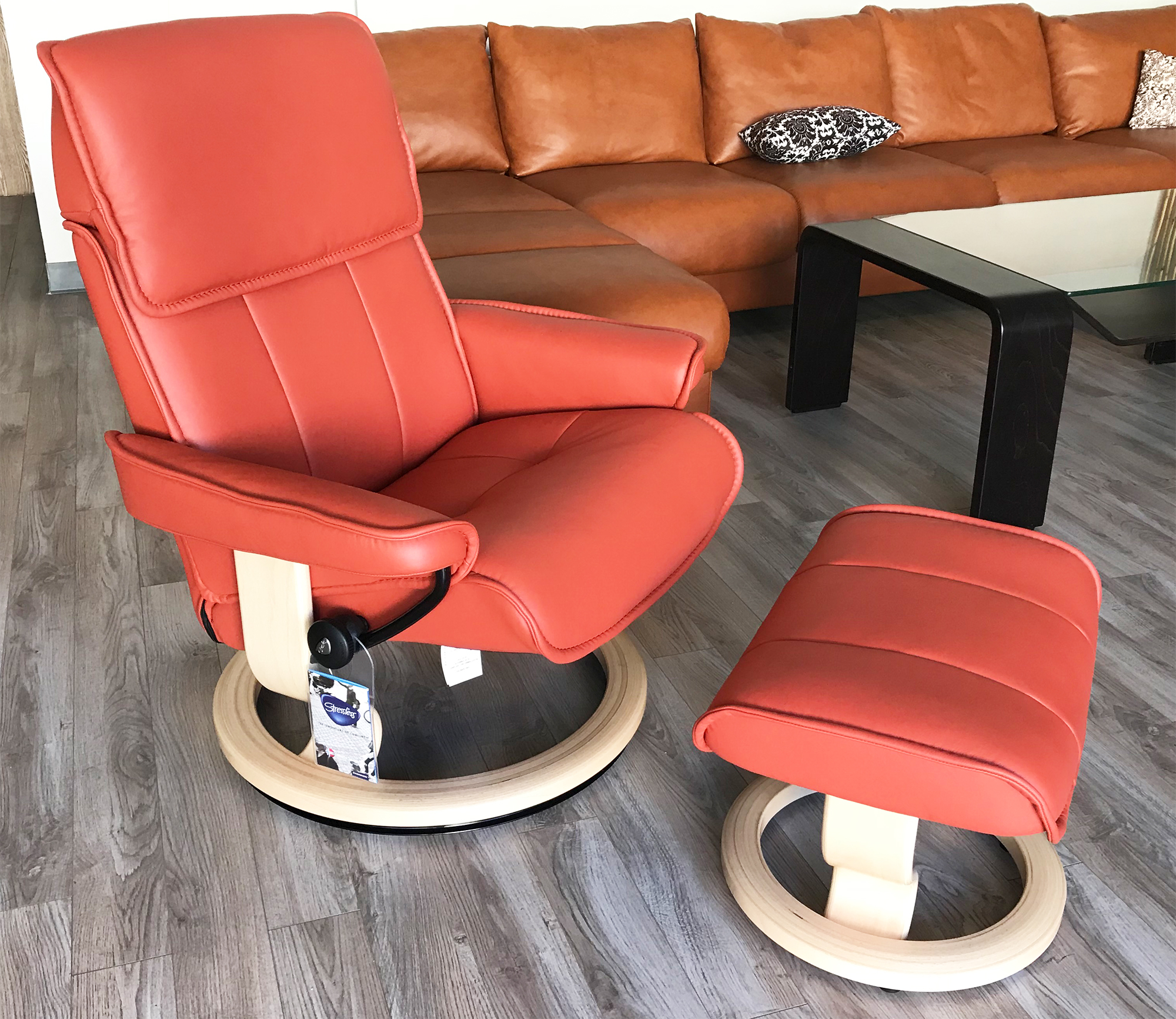 Stressless Admiral Paloma Henna Leather Recliner Chair And