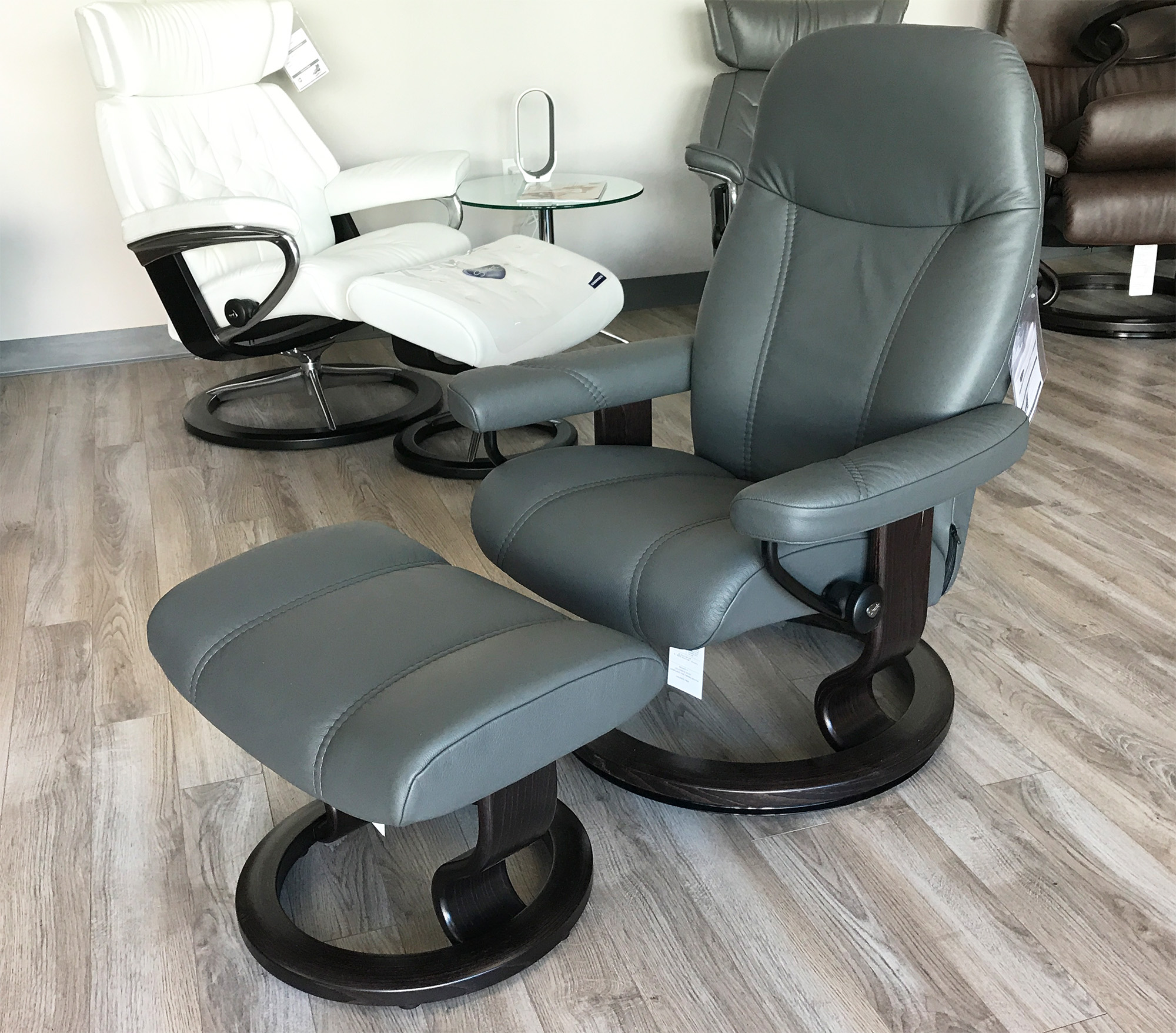 Stressless Consul Recliner Chair and Ottoman Batick Grey Leather