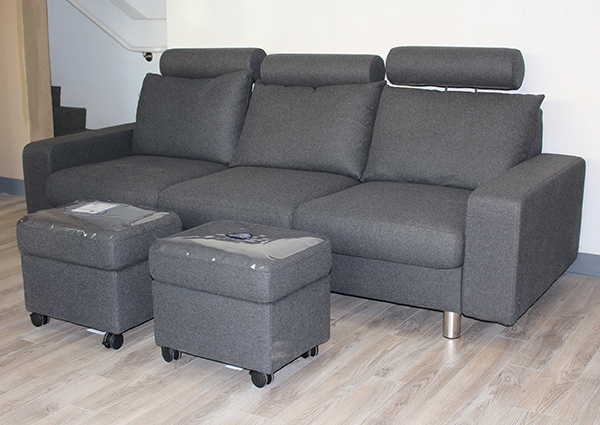 Stressless E200 Sofa in Calido Dark Grey Fabric with Headrest and Ottoman