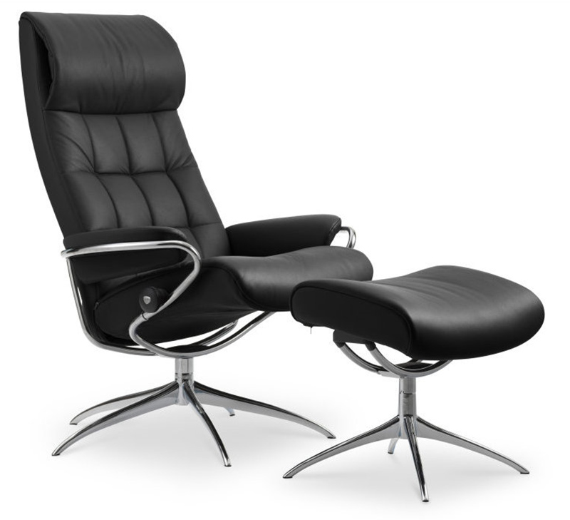 Stressless London High Back Recliner Chair And Ottoman In Paloma Black  Leather
