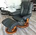 Stressless Chelsea Small Mayfair Recliner and Ottoman in Paloma Rock Leather