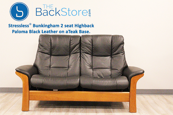 Buckingham 2 Seat Loveseat Paloma Black Color Leather High Back Sofa