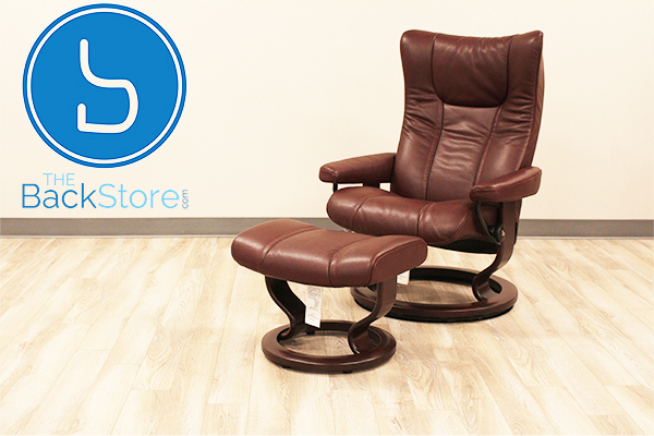 Stressless Eagle Large Wing Recliner Chair and Ottoman in Cori Amarone