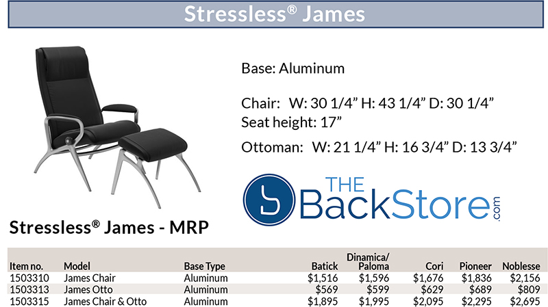 Stressless James Recliner Chair and Ottoman Size Dimensions