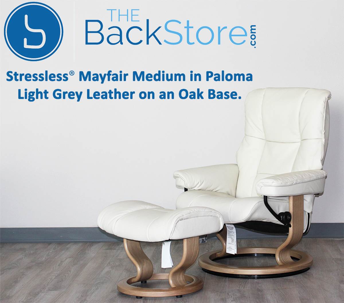 Stressless Mayfair Paloma Light Grey Leather Recliner