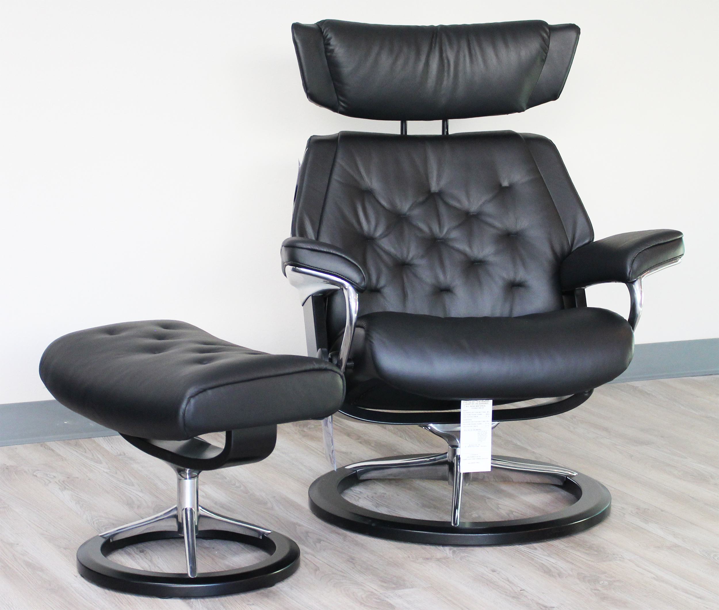 executive chair penza grey black leather