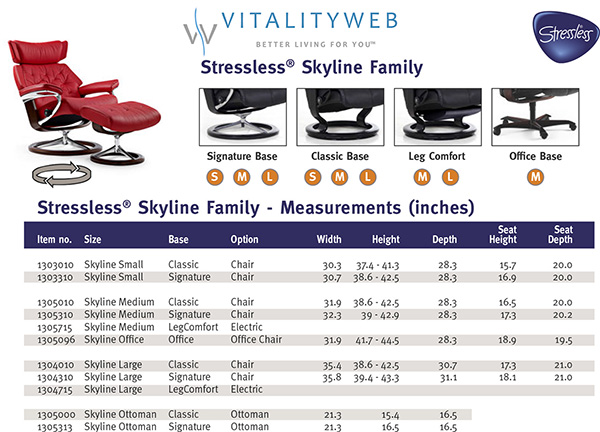 Stressless Skyline Leather Recliner Chair and Ottoman Dimensions