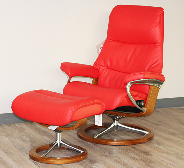 Stressless View Signature Recliner Chair and Ottoman in Paloma Tomato Red Leather