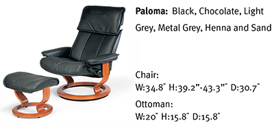 Stressless Admiral Classic Large Base Paloma Black Leather Recliner Chair and Ottoman by Ekornes