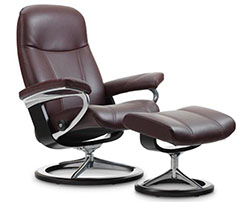 Stressless Consul Signature Base Recliner Chair and Ottoman