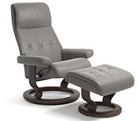 Stressless Sky Recliner Chair and Ottoman - Classic Wood Base