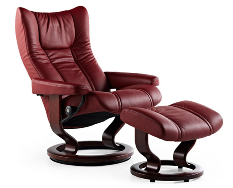 Stressless Wing Recliner Chair And Ottoman By Ekornes Stressless Ergonomic