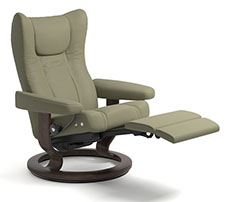 Stressless Wing LegComfort Power Extending Footrest with Classic Wood Base