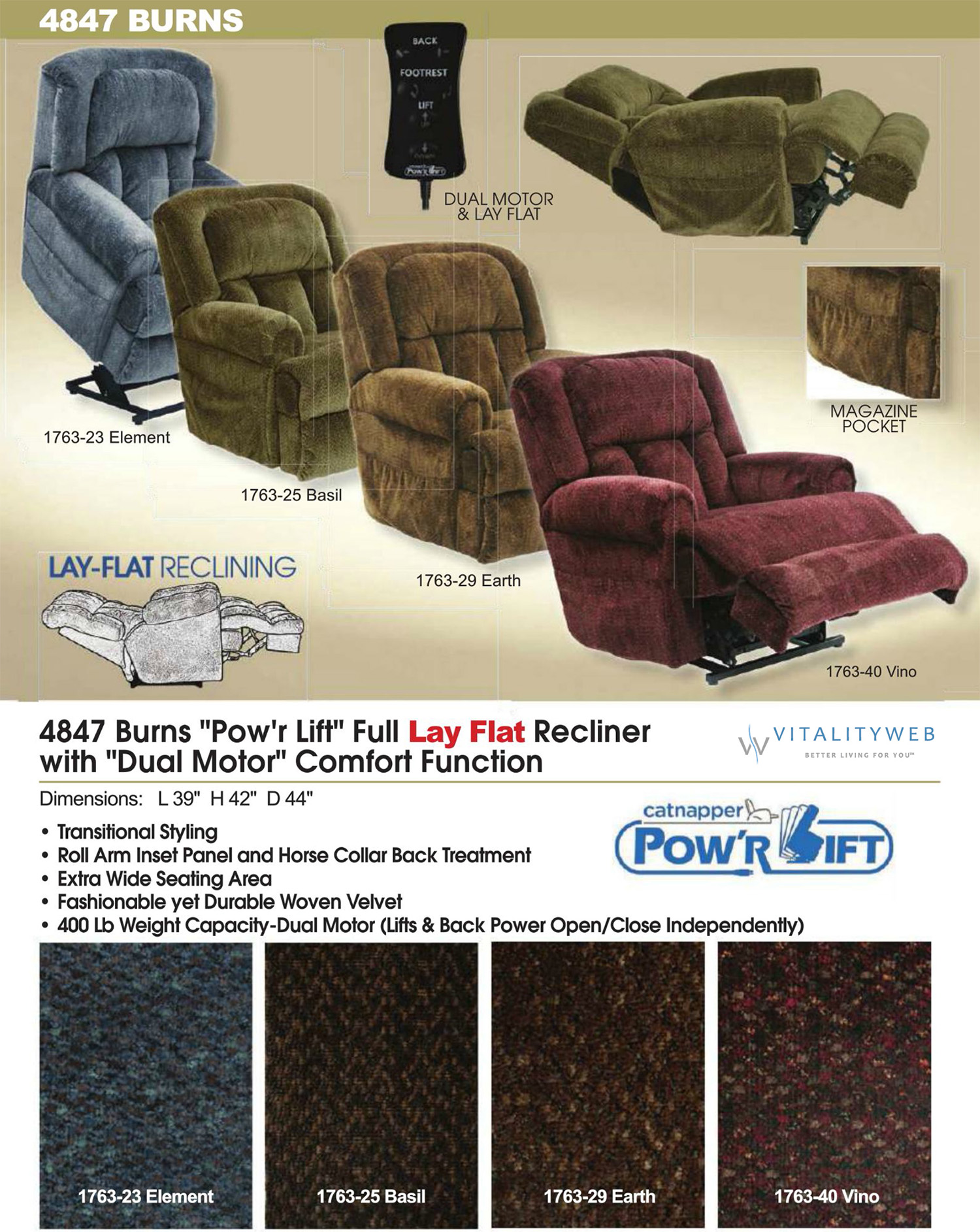Catnapper Burns 4847 Dual Motor Lift Chair Recliner Information & Catnapper Burns 4847 Dual Motor Power Lift Chair Recliner to 400lbs islam-shia.org