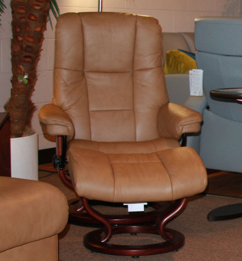 Stressless Paloma Taupe 09484 Leather Color Recliner Chair and Ottoman from Ekornes