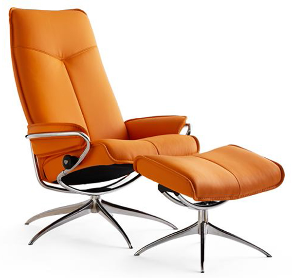 ekornes stressless city high back leather recliner and ottoman metro chair lounger ekornes. Black Bedroom Furniture Sets. Home Design Ideas