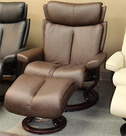 Stressless Magic Paloma Chocolate Leather  Recliner and Ottoman