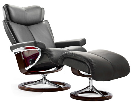 Stressless Magic Signature Chrome Wood Base Recliner Chair