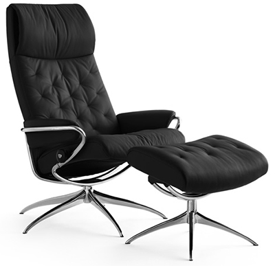 Ekornes Stressless Metro High Back Leather Recliner And Ottoman Metro Chair