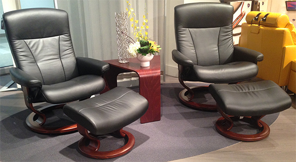 Stressless President Paloma Light Grey Leather Recliner Chair and Ottoman by Ekornes