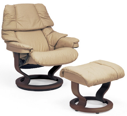 Stressless Reno Classic Wood Base Recliner Chair With Ottoman