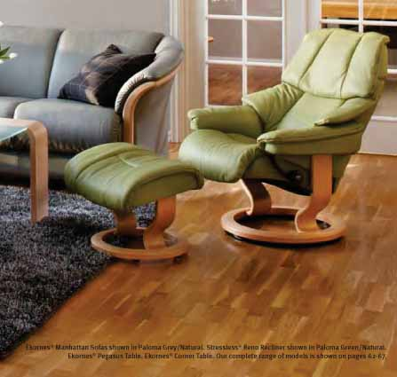 Stressless Paloma Green Reno Leather Color Recliner Chair and Ottoman from Ekornes