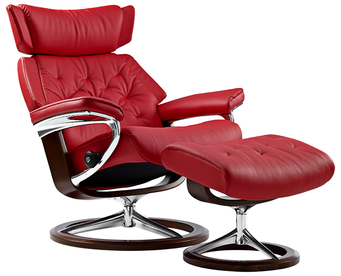 Stressless Skyline Medium Tomato Leather Recliner Chair and Ottoman by Ekornes  sc 1 st  Vitalityweb.com & Ekornes Stressless Skyline Leather Recliner and Ottoman - Metro ... islam-shia.org