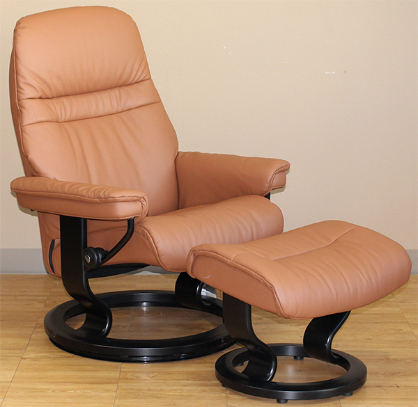 Stressless Sunrise Classic Palm Brown Color Leather Recliner and Ottoman
