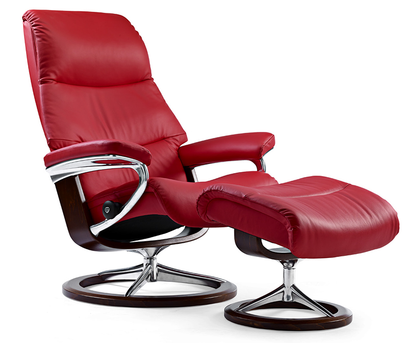 Stressless View Signature Base Recliner And Ottoman By