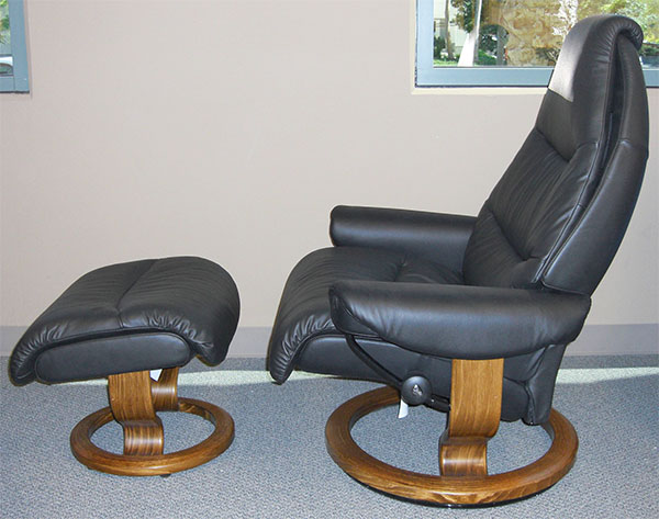 Small Reno Stressless Tampa Paloma AquaGreen Leather Recliner Chair by Ekornes