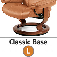 Stressless Reno Large Classic Hourglass Wood Base Recliner Chair and Ottoman