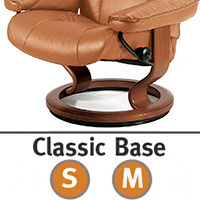Stressless Reno Classic Hourglass Wood Base Recliner Chair and Ottoman