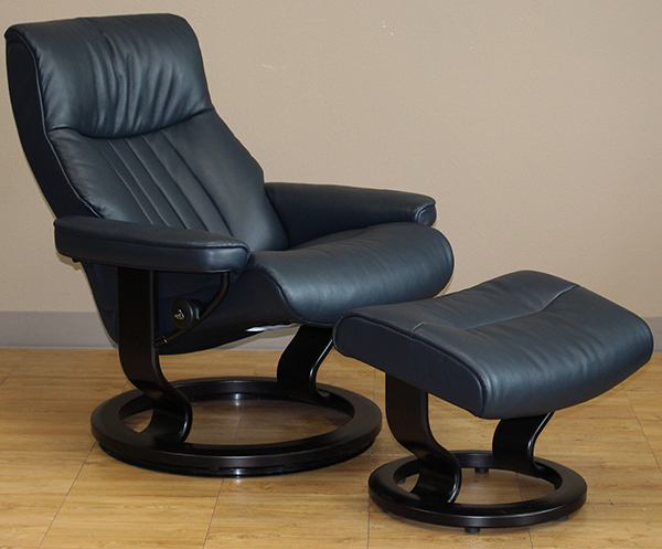Stressless Crown Cori Blue Leather Recliner Chair by Ekornes