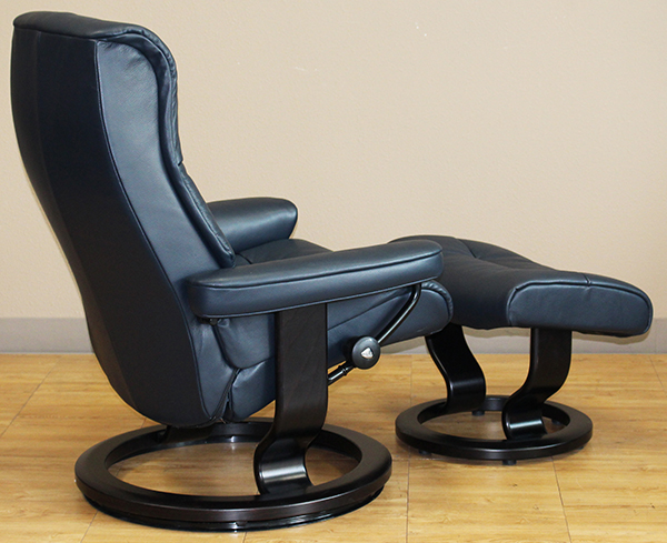 Stressless Cori Blue Crown Leather Recliner Chair by Ekornes