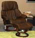 Stressless Tampa Paloma Chocolate Leather Recliner Chair and Ottoman