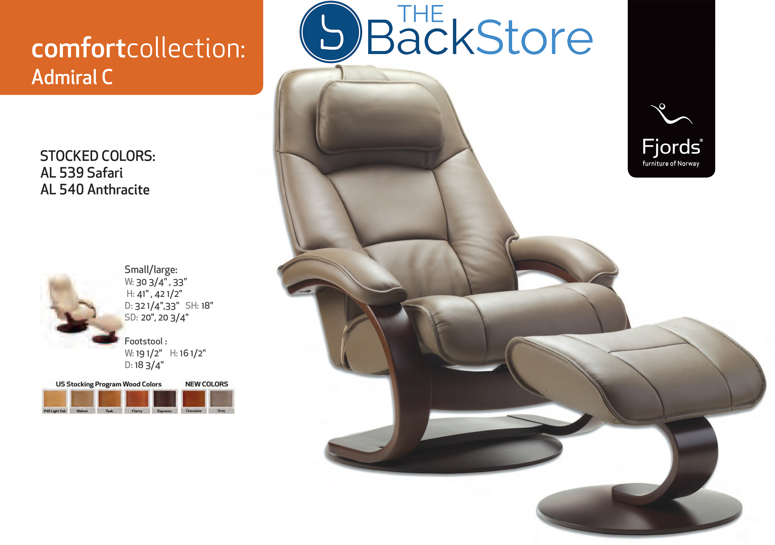 Fjords Admiral Leather Recliner Chair And Ottoman