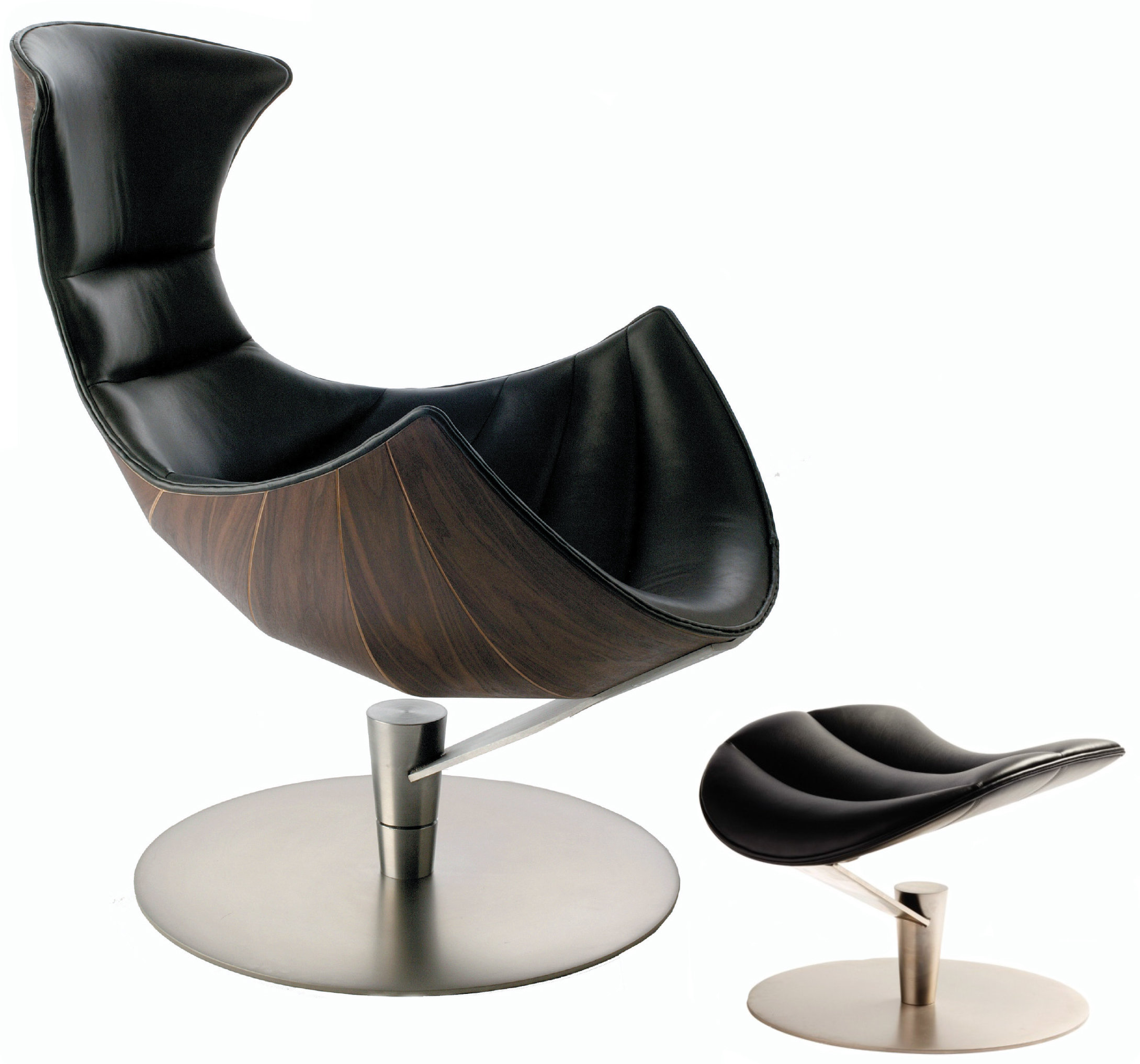 Black leather chair and ottoman - Fjords Lobster Black Leather Chair And Ottoman