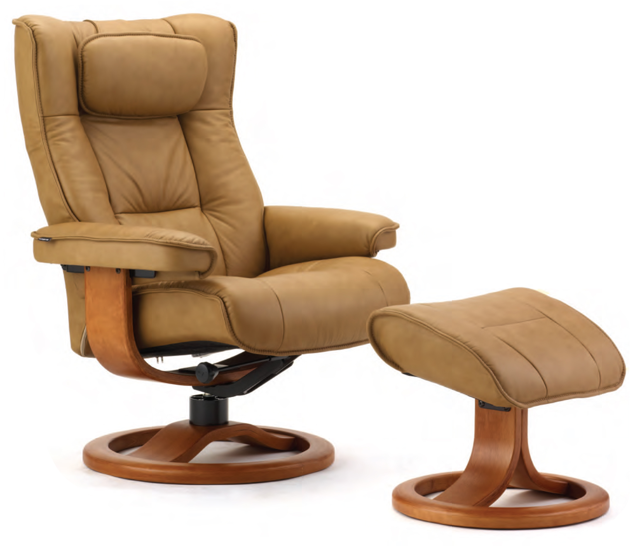 Fjords Regent Ergonomic Leather Recliner Chair Ottoman