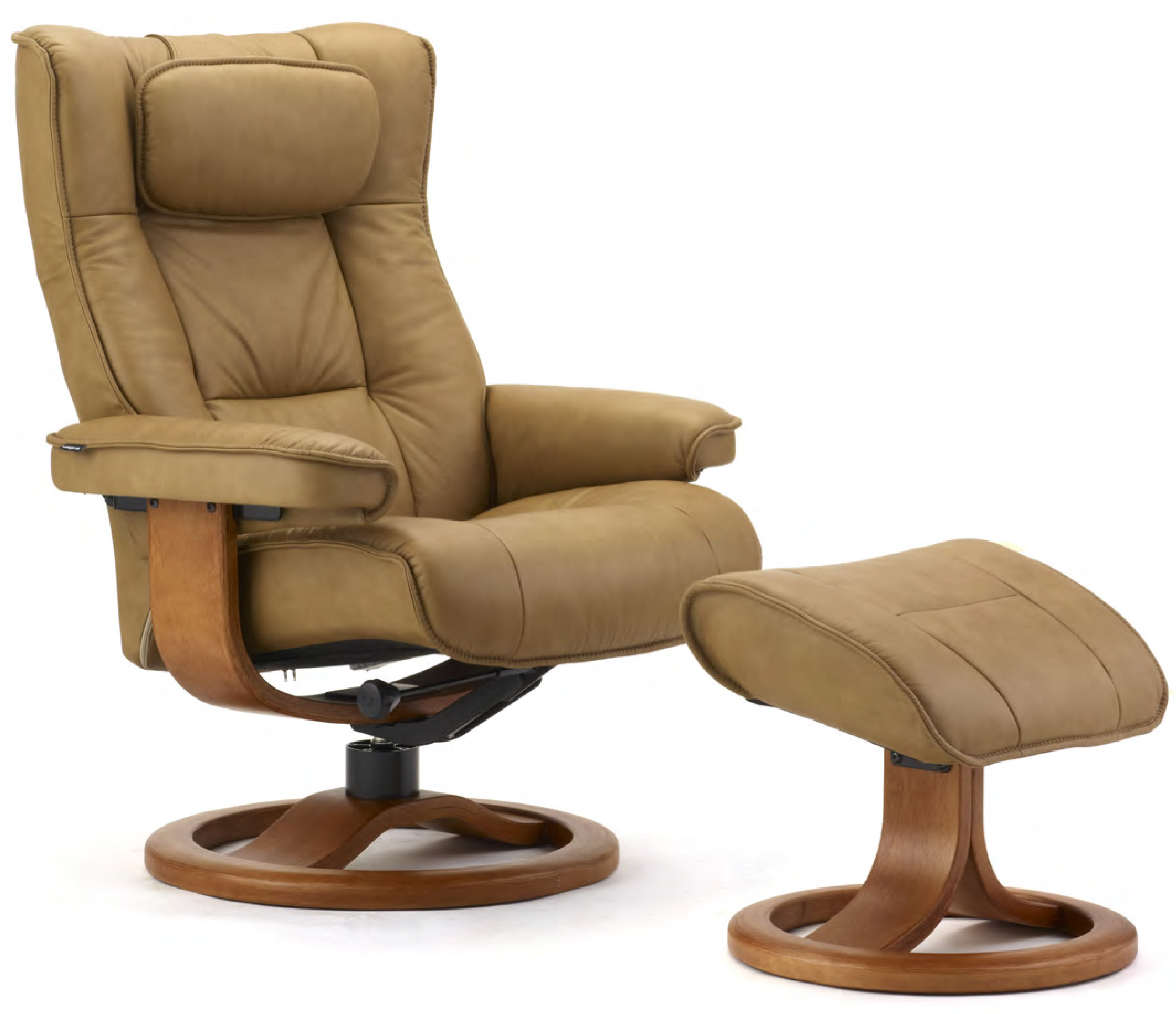 Fjords Scandic Leather Recliner Chair with the R Frame Wood Base  sc 1 st  Vitalityweb.com & Fjords Regent Ergonomic Leather Recliner Chair + Ottoman ... islam-shia.org