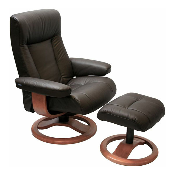 Havana Leather Fjords ScanSit 110 Recliner Chair and Ottoman  sc 1 st  Vitalityweb.com & Scansit 110 Ergonomic Leather Recliner Chair + Ottoman ... islam-shia.org
