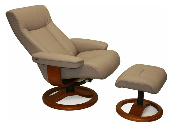 Sandel Leather Fjords ScanSit 110 Recliner Chair and Ottoman - Scansit 110 Ergonomic Leather Recliner Chair + Ottoman