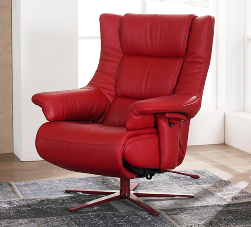 Attractive Himolla Opus Red Leather ZeroStress Integrated Recliner Chair