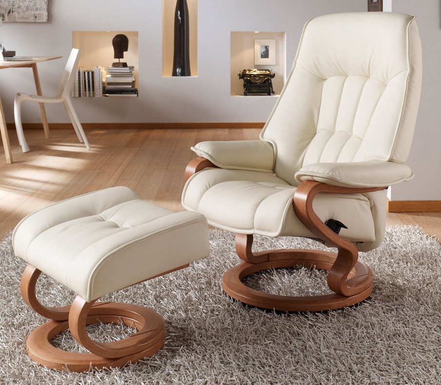 Himolla Elbe Leather ZeroStress Transitional Recliner Chair And Foot Stool  Ottoman