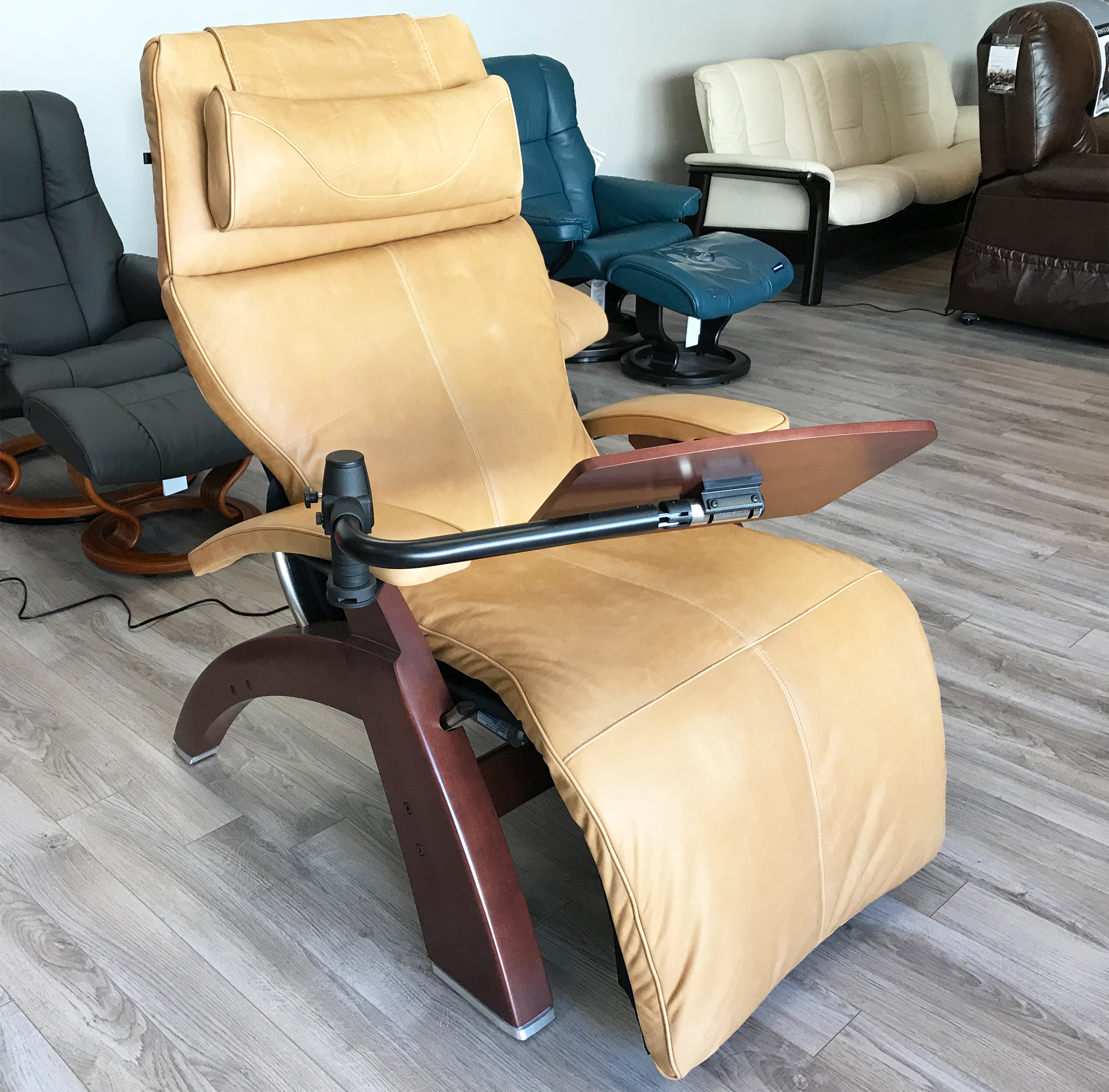 Sycamore premium leather chestnut wood base series 2 classic perfect chair zero gravity power recliner by