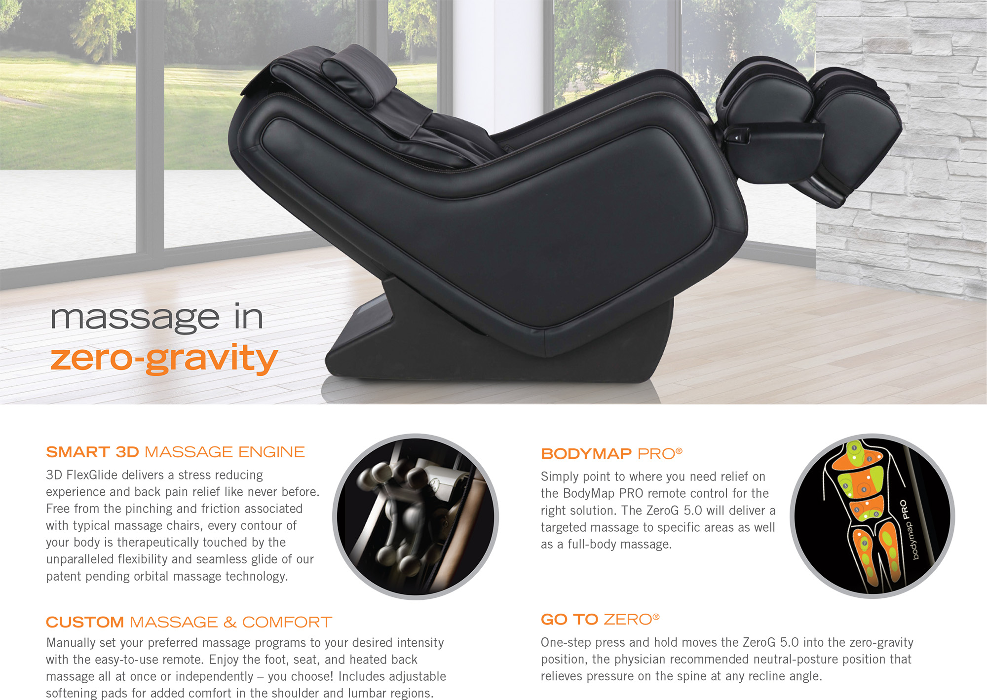 ZeroG 5 0 Immersion Zero Gravity Massage Chair Recliner by Human Touch