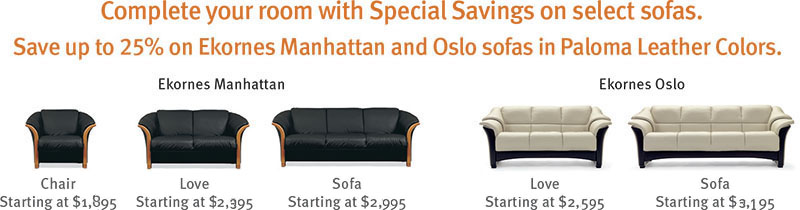 Stressless Manhattan and Oslo Clearance Sale Sofa, LoveSeat and Chair